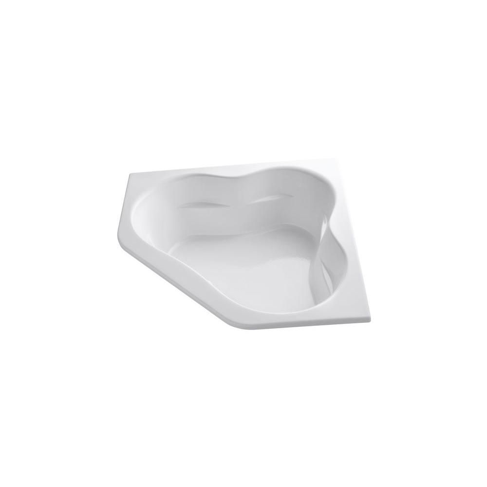 KOHLER Tercet 5 Feet Acrylic Corner Drop-in Whirlpool Bathtub in White