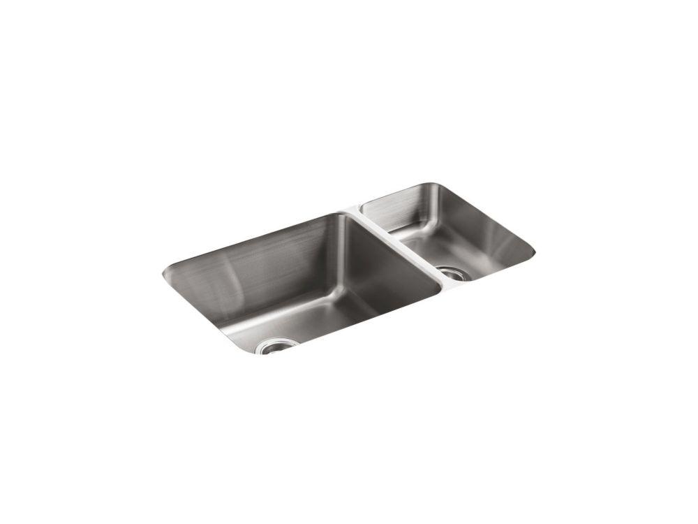 Évier de cuisine sous comptoir haut/bas Undertone(R) avec profondeur de bassin de 9-1/2 po à gauc...