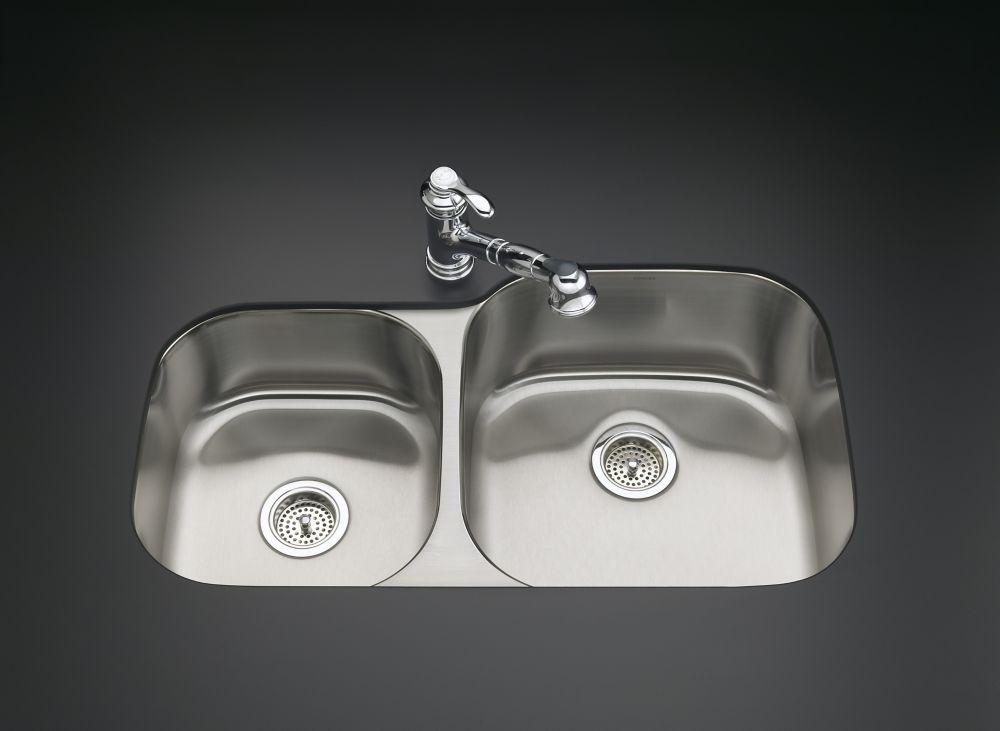 Évier de cuisine sous comptoir extra-large/moyen Undertone(R) avec profondeur de bassin de 7-1/2 ...