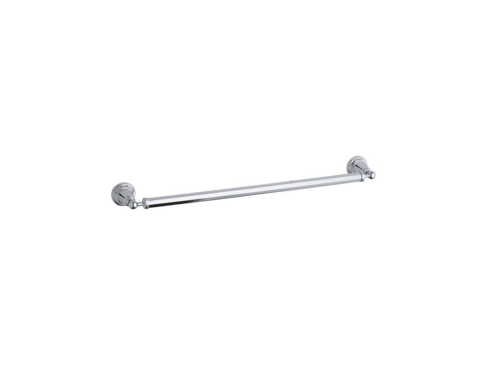 Pinstripe 24 Inch Towel Bar in Polished Chrome