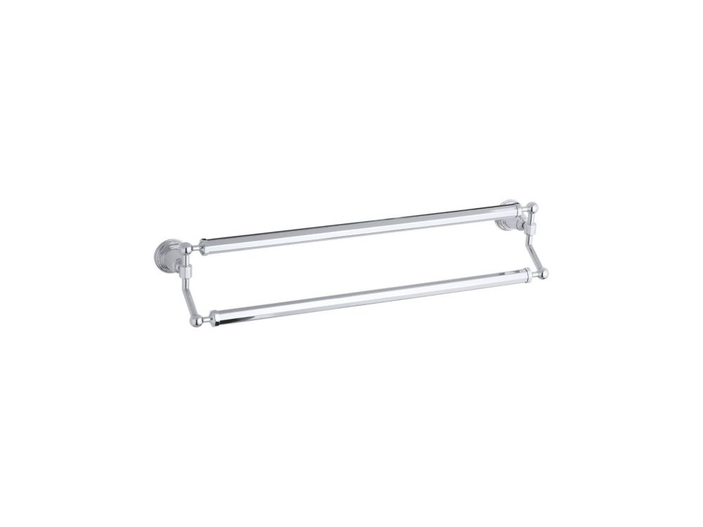 Pinstripe 24 Inch Double Towel Bar in Polished Chrome