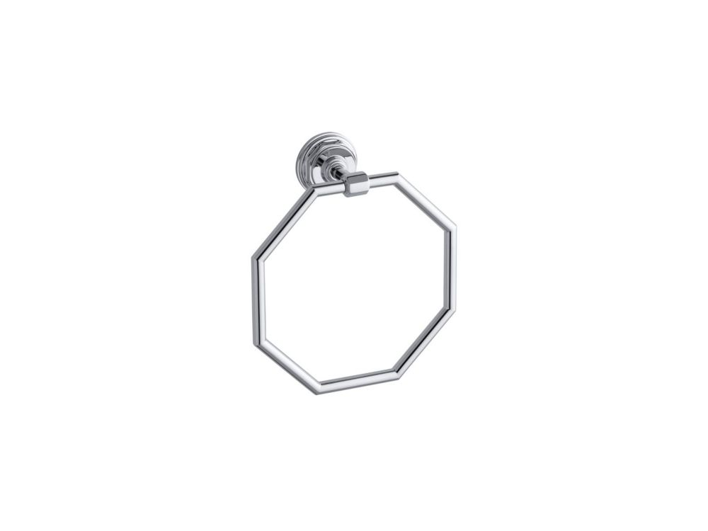 Pinstripe Towel Ring in Polished Chrome
