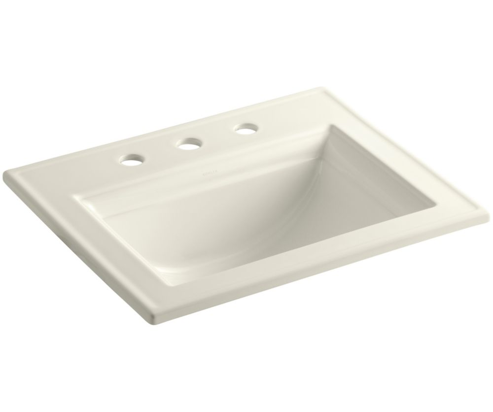 Memoirs Self-Rimming Bathroom Sink with Stately Design in Biscuit
