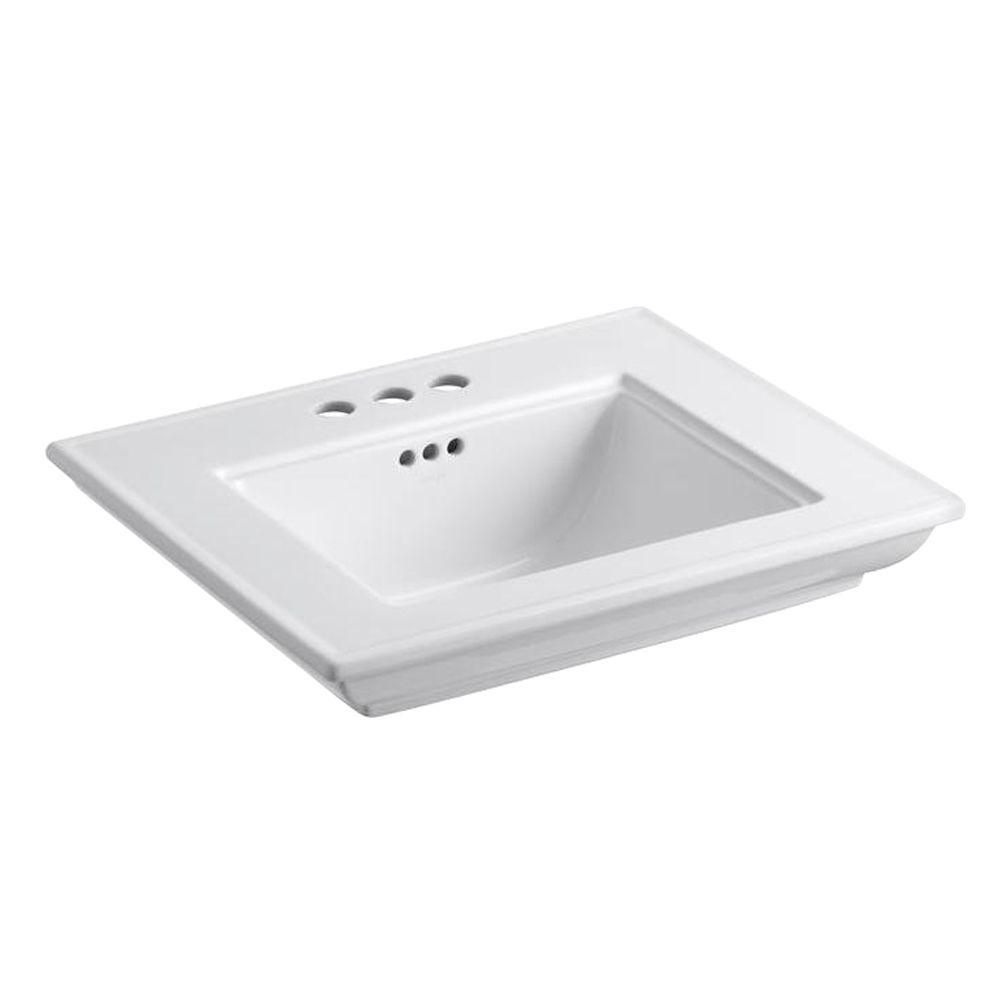 Memoirs Bathroom Sink Basin with 4-inch Faucet Holes in White