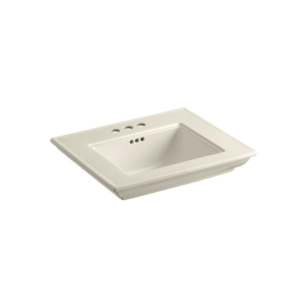Memoirs Bathroom Sink Basin with 4-inch Faucet Holes in Almond