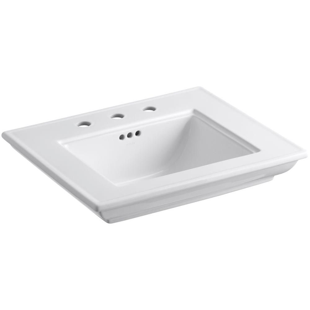 Memoirs Bathroom Sink Basin with 8-inch Faucet Holes in White
