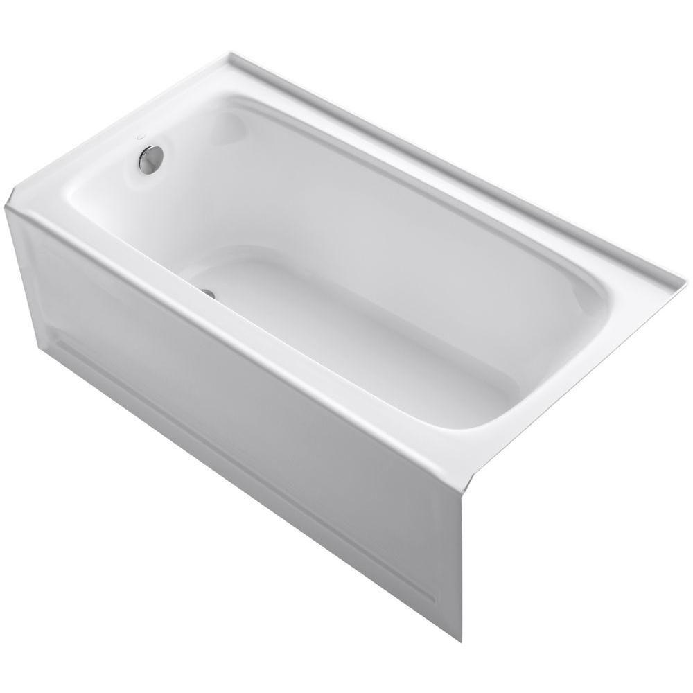 KOHLER Bancroft 5 ft. Acrylic Left Drain Rectangular Alcove Non-Whirlpool Bathtub in White