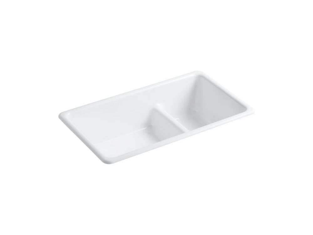 Iron/Tones Smart Divide Kitchen Sink in White K-6625-0 Canada Discount
