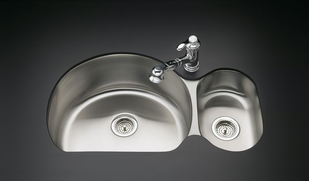 Undertone High/Low Undercounter Kitchen Sink With Left Basin Depth Of 9-1/2 Inch And Right Basin ...
