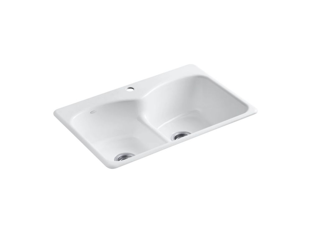 Évier de cuisine à rebord intégré Langlade(R) Smart Divide(TM) avec forage de robinet - 1 orifice...