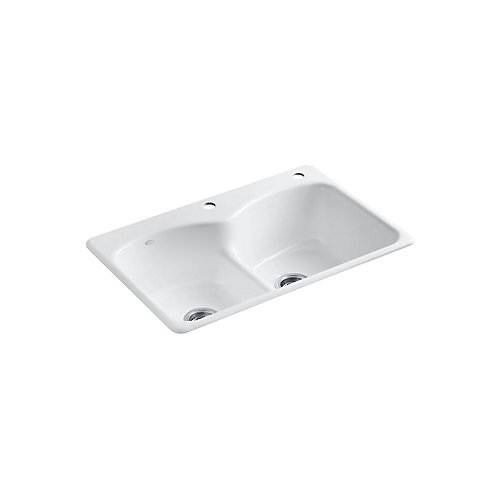 Langlade Smart Divide Self-Rimming Kitchen Sink in White - 2 Holes