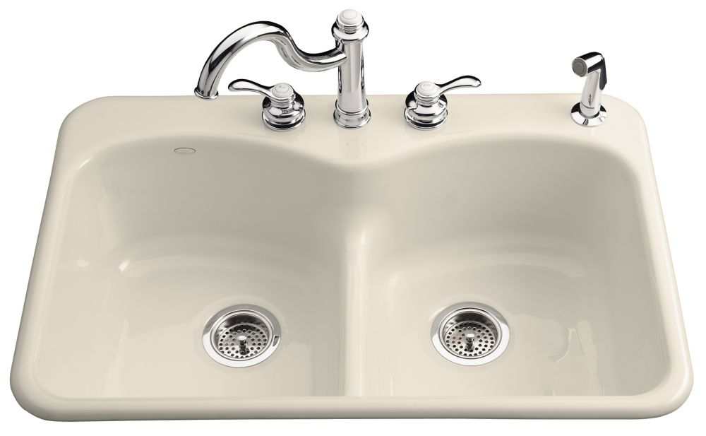 Langlade Smart Divide Self-Rimming Kitchen Sink in Almond