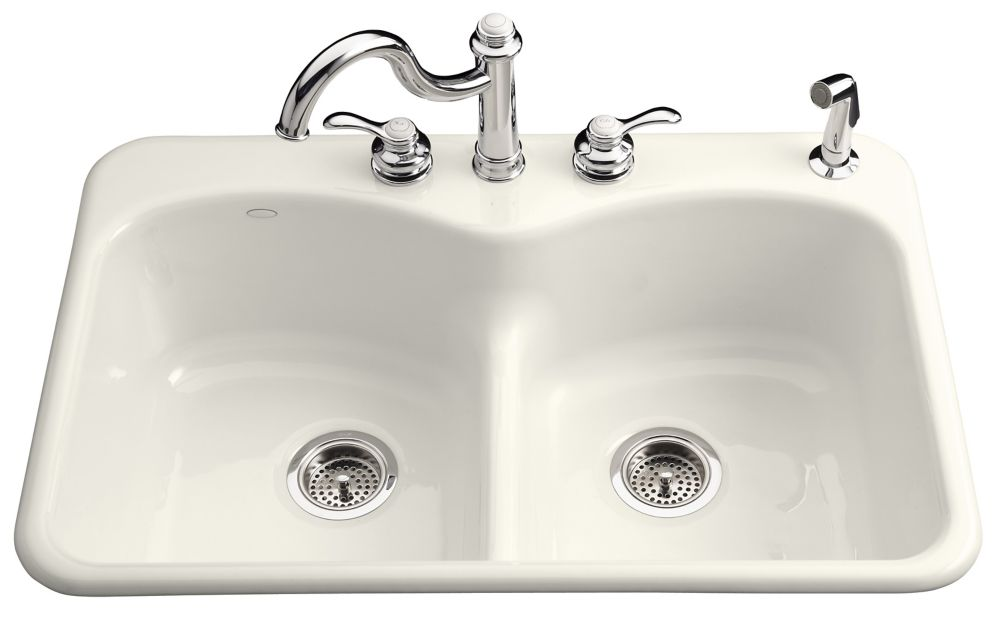 Langlade Smart Divide Self-Rimming Kitchen Sink in Biscuit K-6626-5-96 in Canada