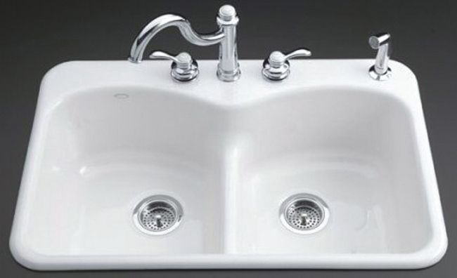 Langlade Smart Divide Self-Rimming Kitchen Sink in White - 5 Holes