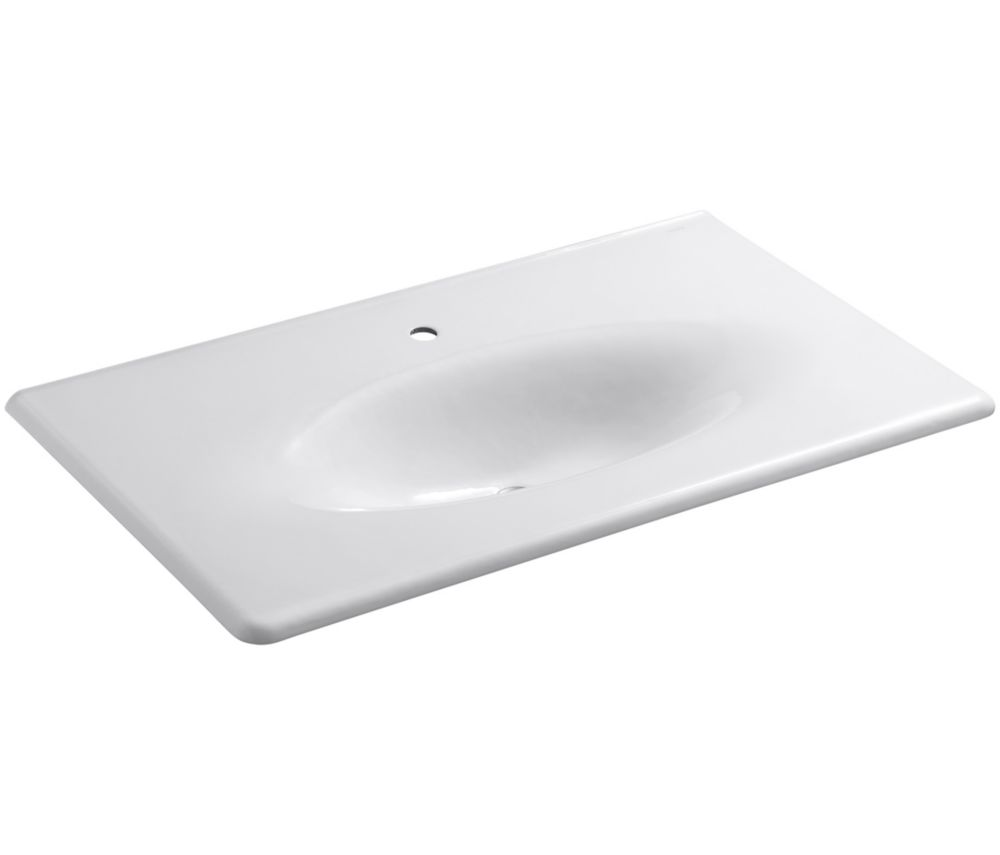 Iron/Impressions 37-inch 1-Piece Surface and Integrated Bathroom Sink in White