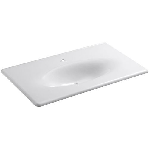 KOHLER Iron/Impressions(R) 37 inch vanity-top bathroom sink with single faucet hole