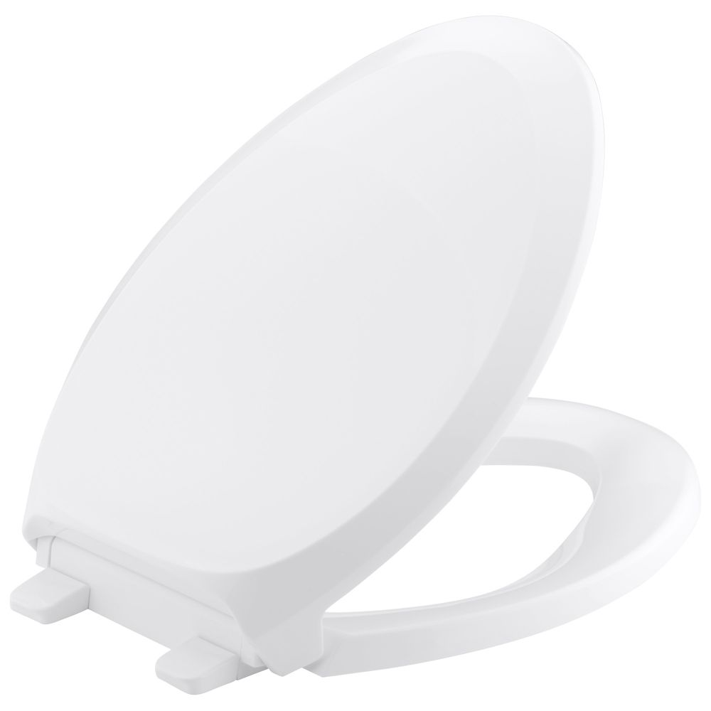 KOHLER French Curve Quiet-Close Elongated Closed Front Toilet Seat with Grip-Tight Bumpers in White