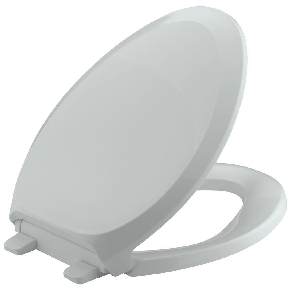 French Curve Quiet Close Elongated Toilet Seat in Ice Grey