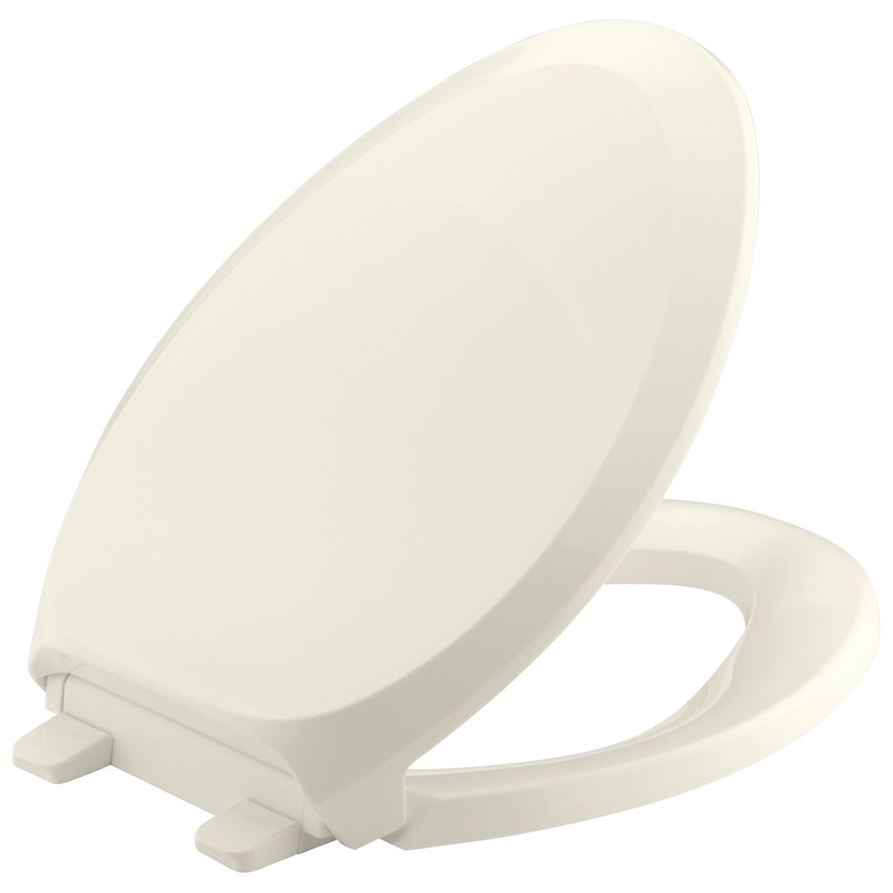 French Curve Quiet Close Elongated Toilet Seat in Biscuit