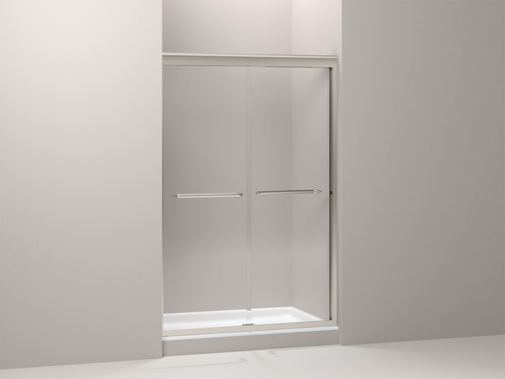 Kohler Fluence 3 8 Inch Thick Glass Bypass Shower Door In Brushed Nickel The Home Depot Canada