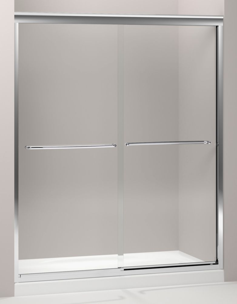 Fluence 3/8 Inch Thick Glass Bypass Shower Door in Bright Polished Silver