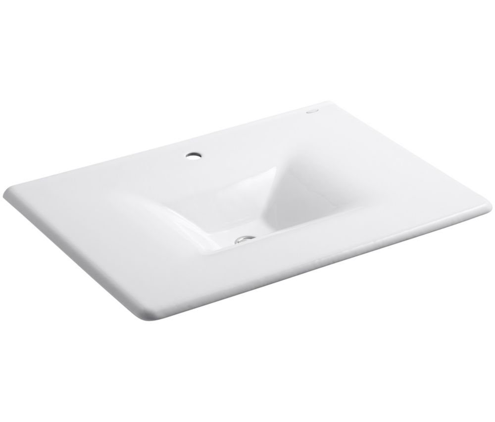 Iron/Impressions 31-inch 1-Piece Surface and Integrated Bathroom Sink in White