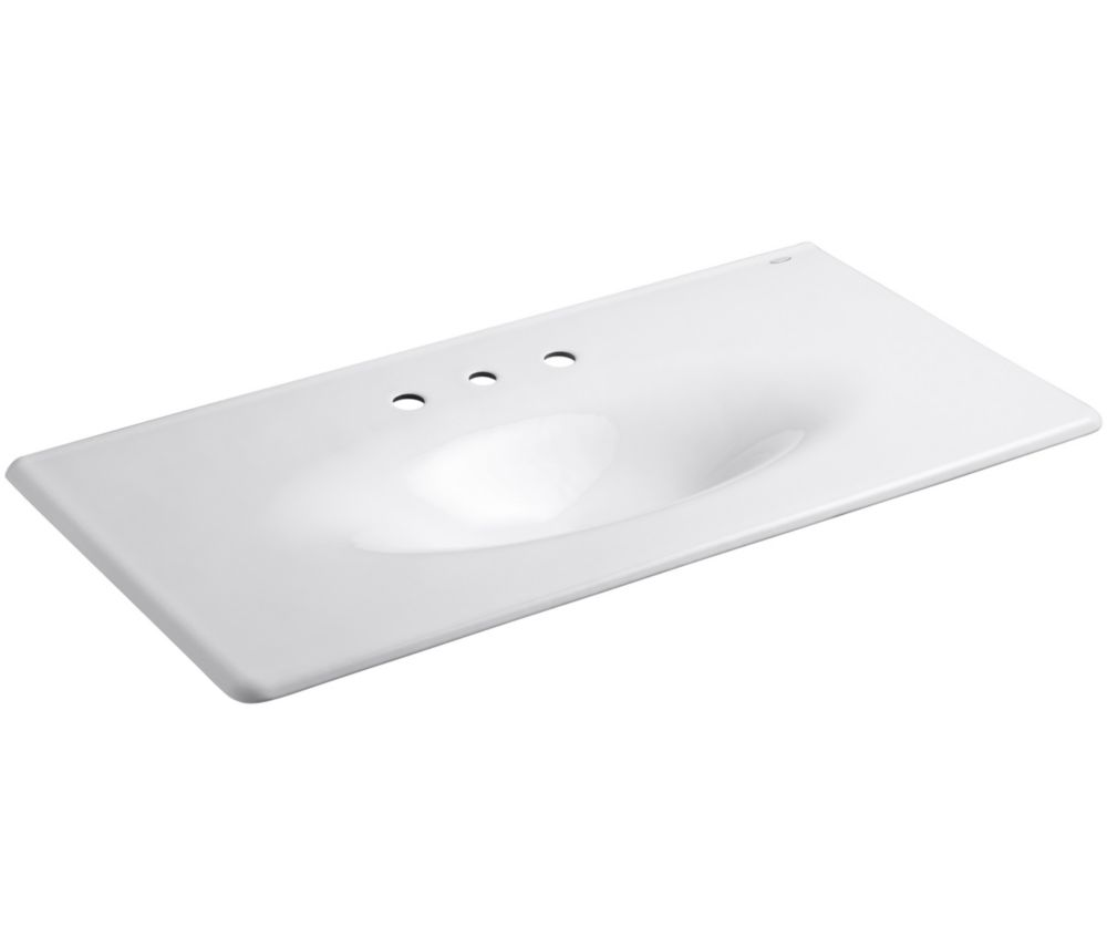 Iron/Impressions 43-inch 1-Piece Surface and Integrated Bathroom Sink in White