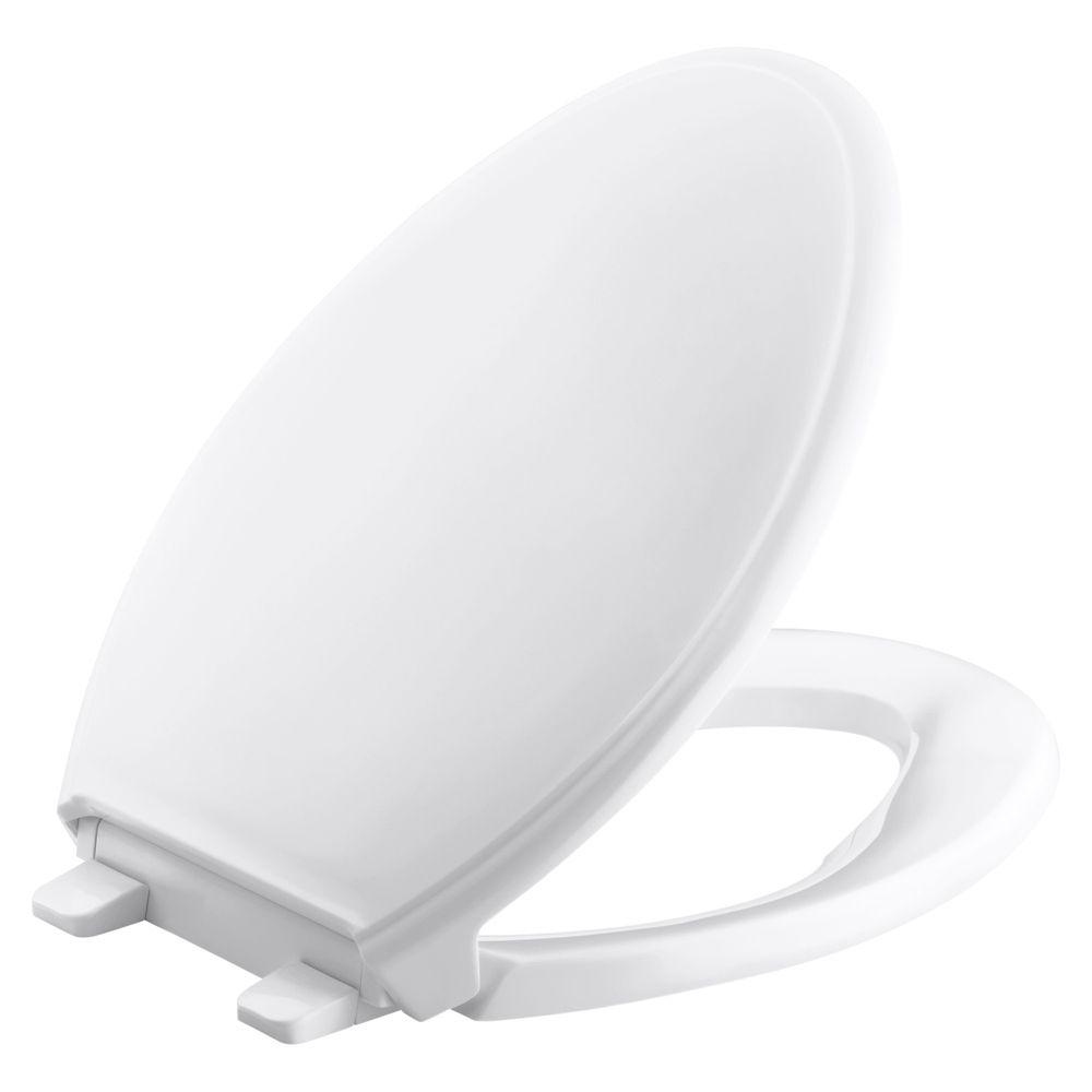 KOHLER Grip-Tight Glenbury Q3 Elongated Closed Front Toilet Seat in White