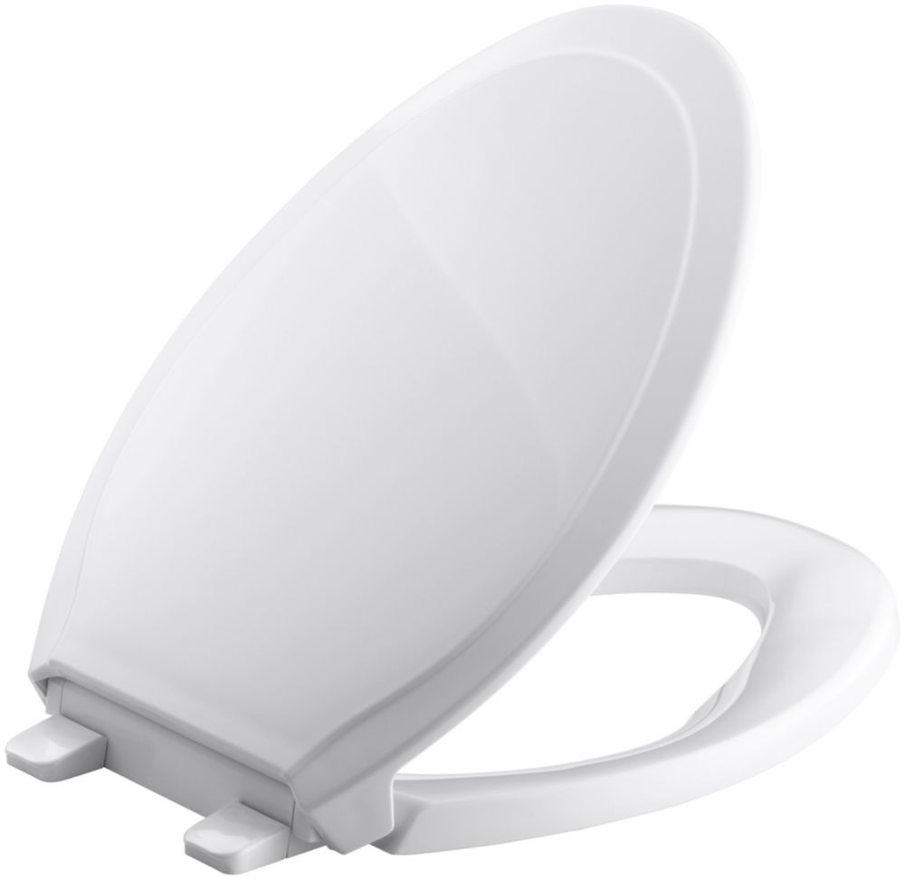 KOHLER Rutledge Quiet-Close Elongated Toilet Seat with Quick-Release in White