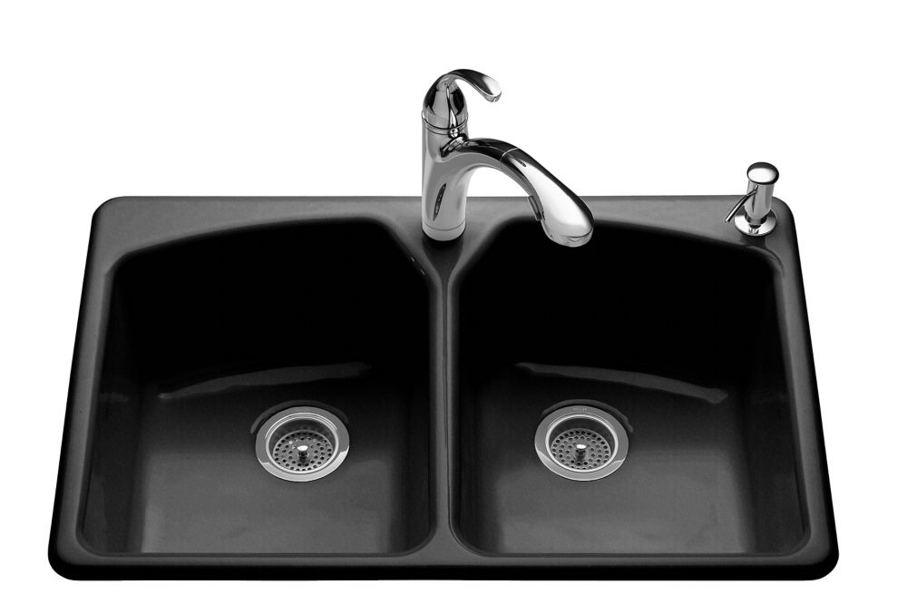 Tanager Self-Rimming Kitchen Sink in Black Black K-6491-2R-7 Canada Discount