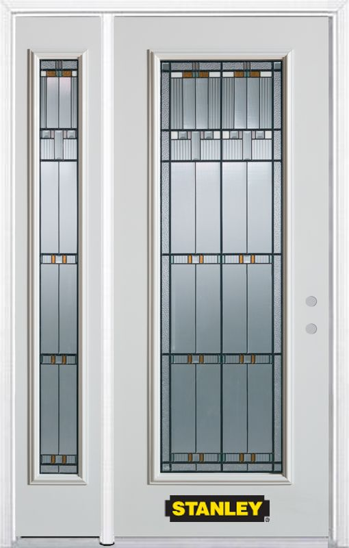 48-inch x 82-inch Chicago Full Lite White Steel Entry Door with Sidelite and Brickmould
