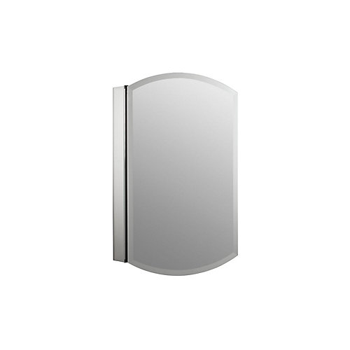 Archer 20-inch W x 31-inch H Single Door Mirrored Recessed Medicine Cabinet in Anodized Aluminum