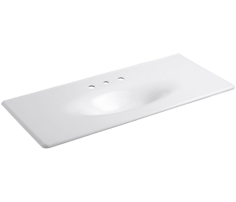 Iron/Impressions 49-inch 1-Piece Surface and Integrated Bathroom Sink in White
