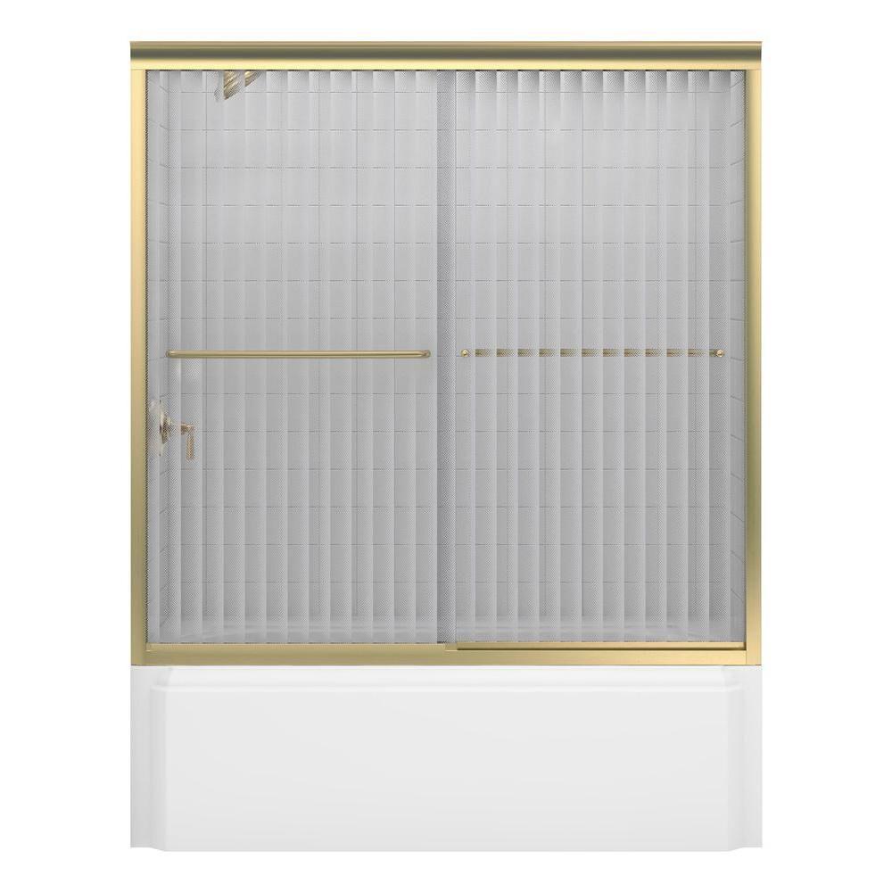 Porte de baignoire coulissante sans cadre Fluence(TM) avec verre en lignes tombantes, 59-5/8 po x...