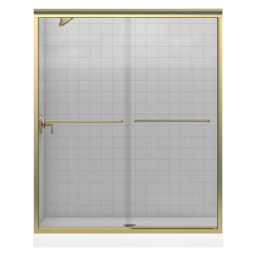 Fluence Frameless Bypass Bath Shower Door in Anodized Brushed Bronze