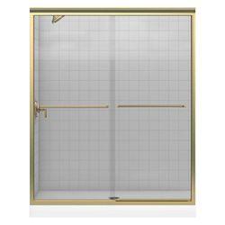 "KOHLER Fluence(R) sliding bath door, 55-3/4"" H x 56-5/8 - 59-5/8"" W, with 1/4"" thick Crystal Clear glass"