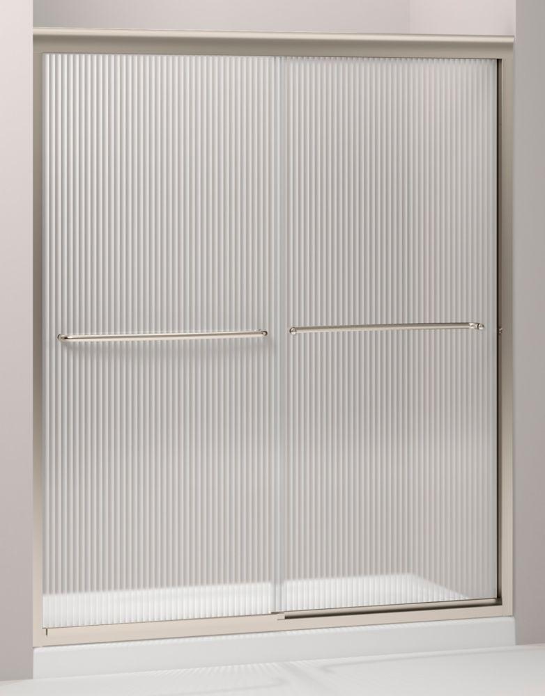 Fluence frameless bypass shower door in anodized brushed for Discount frameless shower doors