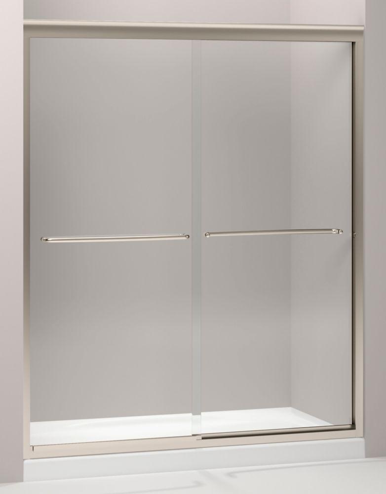 Porte de douche coulissante sans cadre Fluence(TM) avec verre en crystal clair, 59-5/8 po x 70-5/...