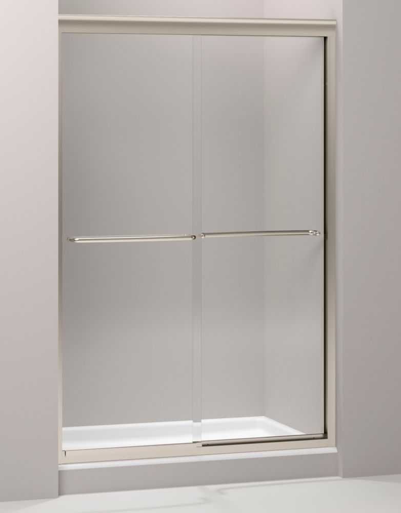 Fluence Frameless Bypass Shower Door in Anodized Brushed Bronze