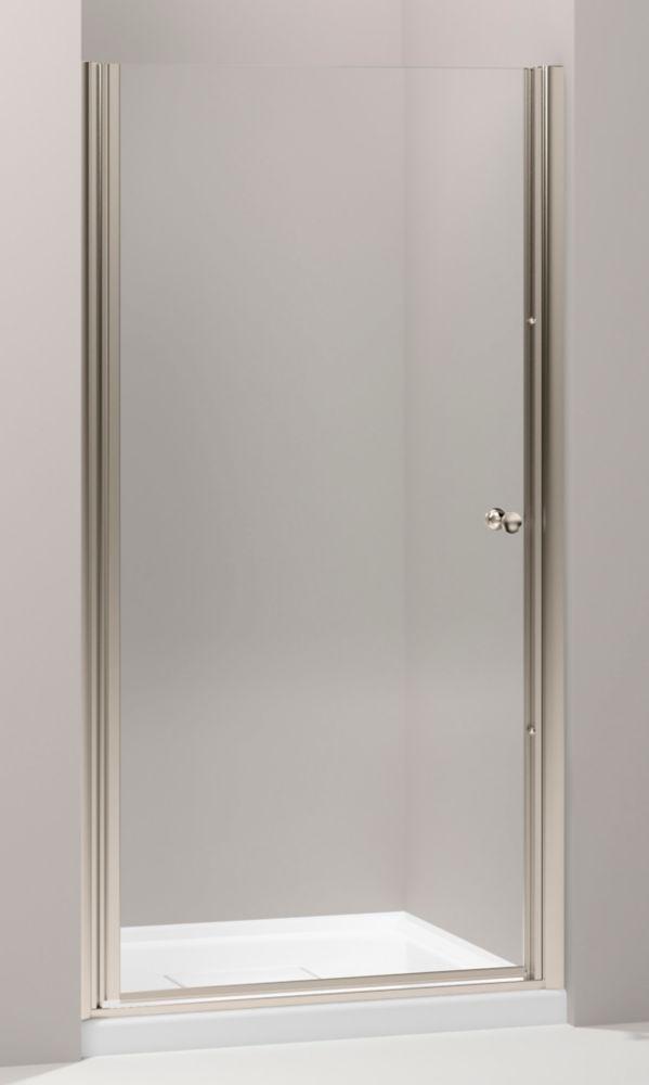 Porte de douche pivot sans cadre Fluence(TM) avec verre en crystal clair, 28-3/4 po - 30-1/4 po x...