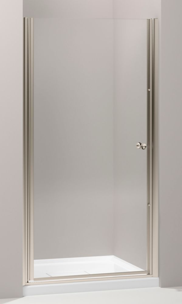 Fluence Frameless Pivot Shower Door In Anodized Brushed