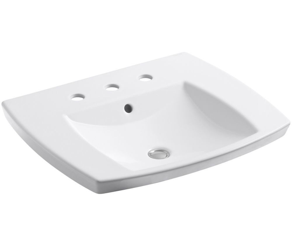 Kelston 23 7/16-inch L x 20 11/16-inch W Self-Rimming Bathroom Sink with 8-inch Centres in White