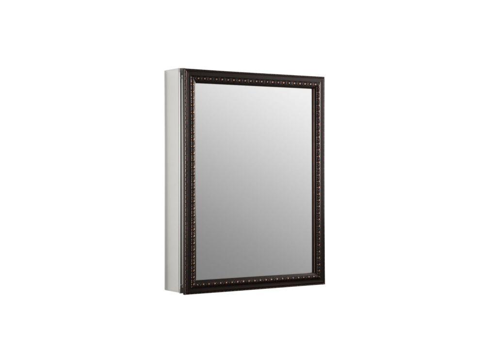 Kohler armoire pharmacie en aluminium avec porte miroir for Miroir encadre