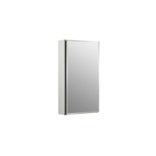 15-inch W x 26-inch H Single Door Recessed or Surface Mount Medicine Cabinet in Anodized Aluminum