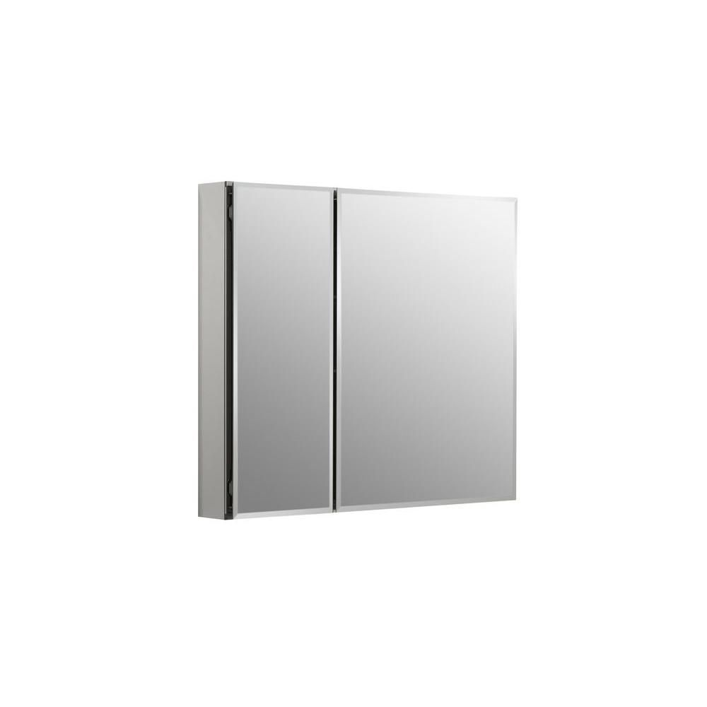 KOHLER 30-inch W x 26-inch H Two-Door Recessed or Surface Mount Medicine Cabinet in Silver Aluminum