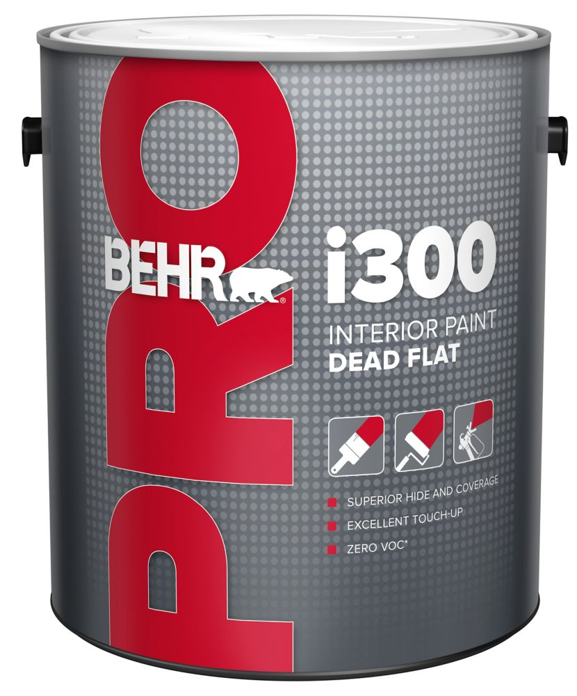BEHR PRO i300 Series, Interior Paint Dead Flat - White Base, 3.79 L