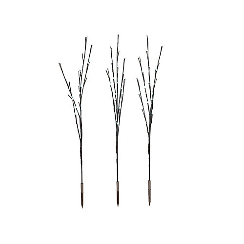LED-Lit White Twig Tree Christmas Decoration (Set of 3)