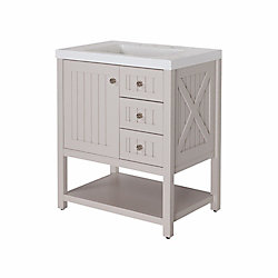 Martha Stewart Living Seal Harbor 30-inch W Vanity in Grey with Brushed Nickel Hardware
