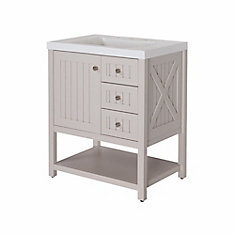 Seal Harbor 30-inch W Vanity in White with Brushed Nickel Hardware