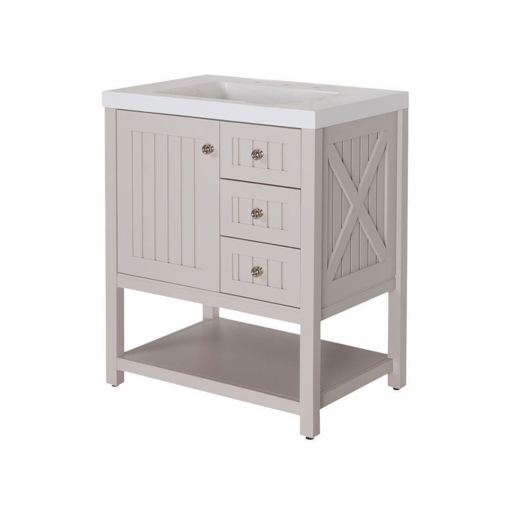 Martha Living Seal 30 Inch W Vanity In White With Brushed Nickel Hardware The Home Depot Canada
